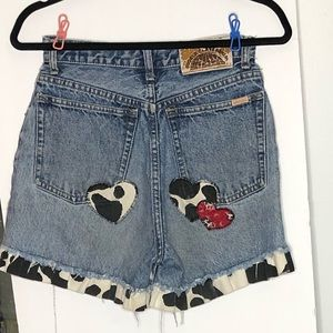 Vintage Lawman Jean shorts with cow print detail